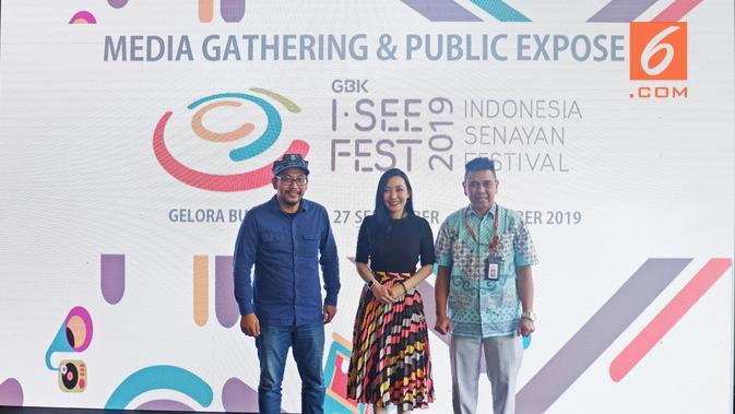 Media gathering dan first public announcement Indonesia Senayan Festival (I SEE Fest) 2019 di 100 Eatery and Bar Century Park Hotel, Senayan, Jakarta, 23 Januari 2019. (Liputan6.com/Asnida Riani)