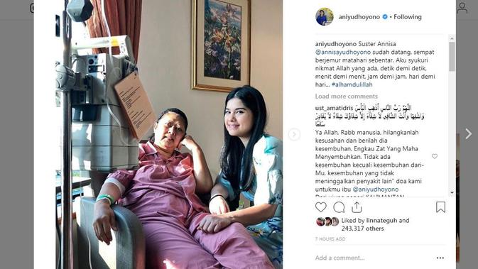 Ani Yudhoyono saat dirawat Annisa Pohan. (Instagram @aniyudhoyono)