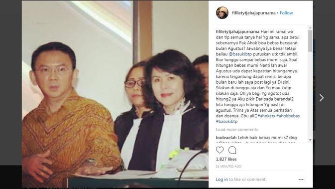 Adik Ahok, Fifi Lety Indra, mengunggah klarifikasinya soal mantan Gubernur DKI Jakarta itu dapat mengajukan permohonan bebas bersyarat pada Agustus 2018 di Instagramnya. (Instagram @fifiletytjahajapurnama)