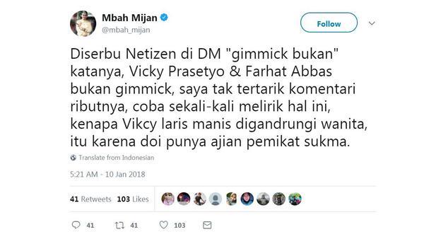 Mbah Mijan sebut Vicky Prasetyo punya ajian pemikat sukma. [foto: twitter/mbah_mijan]