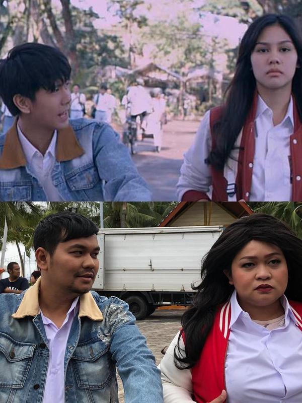 Indra Bekti parodikan adegan film Dilan 1990. (Instagram/indrabekti)