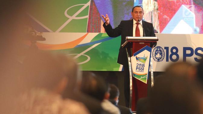 Ketum PSSI Edy Rahmayadi memberikan sambutan saat kongres PSSI 2018 di ICE, BSD, Tangsel, Sabtu (13/1). Edy berharap kongres kali ini dapat berjalan dengan lancar agar seluruh tujuan yang ingin dicapai PSSI bisa tercapai. (Liputan6.com/Angga Yuniar)