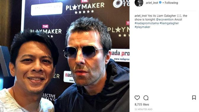 Ariel NOAH selfie bareng Liam Gallagher. [foto: instagram/ariel_inst]