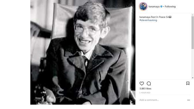 Luna Maya mengunggah foto Stephen Hawking (Foto: Instagram)