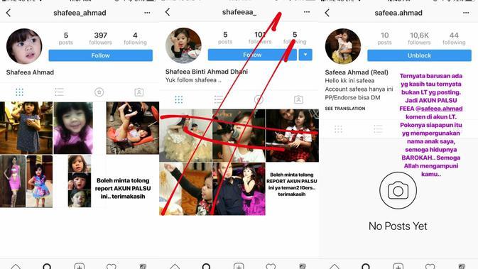 Akun Instagram palsu Shafeea Ahmad, anak pertama Ahmad Dhani dan Mulan Jameela. [foto: instagram.com/mulanjameela1]