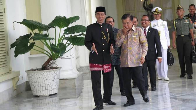 Presiden dan Wakil Presiden, Joko Widodo dan Jusuf Kalla. (Liputan6.com/Ahmad Romadoni)