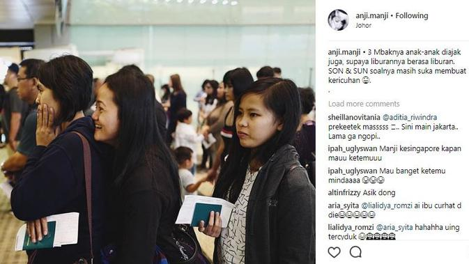 Anji boyong bawa tiga asisten rumah tangganya ikut liburan ke Singapura [foto: instagram]